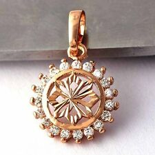 Womens Rose Gold Filled flower crystal stone round pendant fashion jewelry