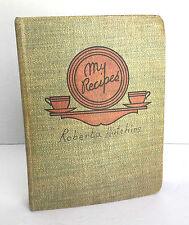 Vintage Cookbook Hand Written Cuttings Recipe Book 1940's Forward STUFFED FULL