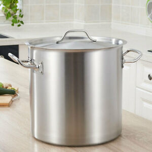 12-50L Deep Stock Pot Stainless Steel Large Cooking Pan Brew Stew Soup Pot UK