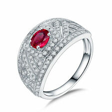 18ct White Gold Stunning Natural Ruby and Diamonds Ring