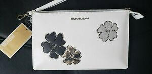 NWT Michael Kors Floral Studded Daniela Large Wristlet Admiral Optic White $148
