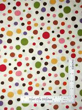 "JoAnn Fabrics Multicolor Circle Dots Cream Gold Accent Cotton Fabric 26"" Length"