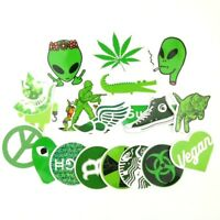 Green Weed Pot Leaf, Stoner 420 Sticker Bomb Lot, PVC Vinyl Decal Pack - 20 pc