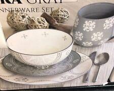 Baum Phara 15-Piece Gray Set Dinnerware *missing 1 Dinner plate*