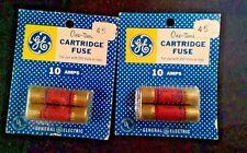 4 Vintage NEW  GE 10 AMP Fuse cartridges  45 cent retail 2 packs of 2