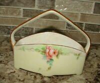 "Vintage Ceramic Roses with gold trim Small Decoration Trinket Basket 5"" x 4"""