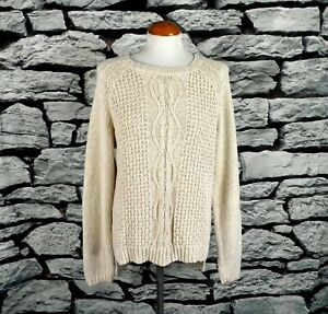 Fat Face Natural Cream Cable Knit Linen and Cotton Jumper Size L UK 16 Vegan