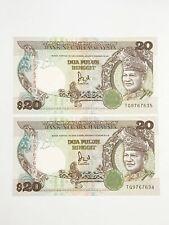 Malaysia, Bank Negara, 20 Ringgit KNB35a-c ND (1989) # TG 9767 634-5 Pairing
