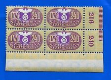 Nazi Germany Third 3rd Reich 240 revenue stamps block Eagle Swastika Ww2 Mnh