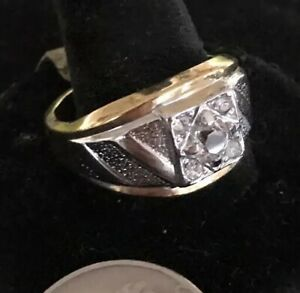MEN'S 18KT H.G.E. Cubic Zirconia Cocktail RING Band Two Tone Sz 12.5 Solitaire