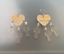 ❤️ Designer Mirror Perspex Heart+Cross Silver Pierced earings.Very Good Conditin