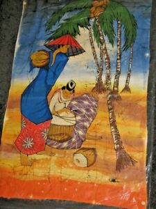Asian Fabric Printed Picture Collecting Coconuts & A Bird Very Colourful 79x53cm