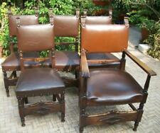 4 antiche sedie x studio professionale + poltrona padronale legno scolpito pelle