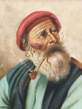 Antique Oil Painting Old Man Basque/Fisherman Smoking Pipe Signed