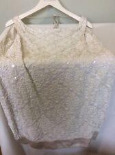 REISS Ivory Beaded Sleeveless Dress, Plunging Back, UK SIZE 8