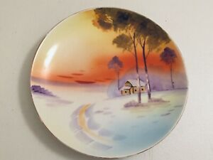 VINTAGE MEITO CHINA HAND PAINTED MADE IN JAPAN LANDSCAPE PLATE