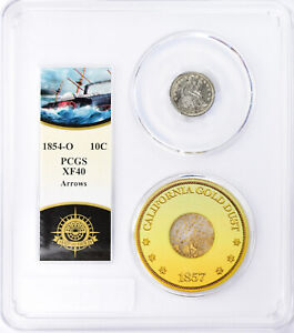 1854-O Arrows Seated Liberty Dime PCGS XF40 SS Central America Shipwreck w Pinch