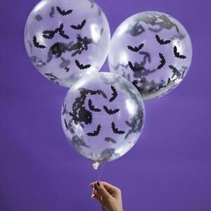 Halloween balloons - Bat confetti balloons - Halloween Decorations - Pack of 5