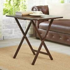 2 Pack Folding TV Tray Table Set In Walnut Living Room Portable Wooden Furniture