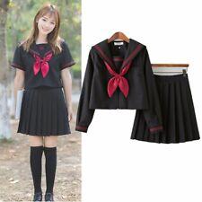 Japanese School Student Sailor Uniform JK Girls Blouse + Pleated Skirt Suit