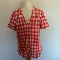 Maine Womens Red Check Cotton Short Sleeve Blouse Shirt Size 14 Button Casual
