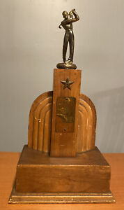 Vtg 1943 YMCA Golf League Trophy Art Deco Style Wood With Bronze Golfer Topper