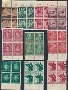 Lot Stamp Germany Blocks WWWII 3rd Reich Welfare AH RAD Hitler Militia MNH
