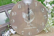 GISELA GRAHAM EASTER COUNTRY NATURAL WOOD CREAM PRINTED HEN CLOCK