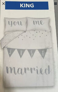 JUST MARRIED EASY CARE KING SIZE DUVET & PILLOW CASES SET NEW wedding GREY WHITE