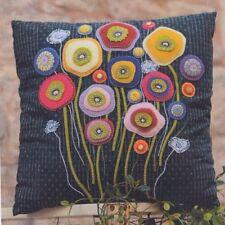 Wallflower Cushion - wool applique & stitchery PATTERN - Flying Fish