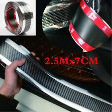 2.5M 5D Carbon Fiber Silver Car Door Sill Pedal Protector Strip Edge Guard Strip