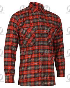 Flannel Brushed Cotton Shirt Check Work Lumberjack Tartan Long Sleeve Casual New