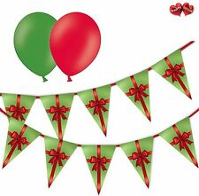 Christmas Bundle Green Gift Box Bunting Banner 15 flags & 8 Asst latex balloons