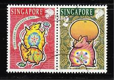 SINGAPORE 1996 ZODIAC YEAR OF RAT SE-TENANT COMP. SET OF 2 STAMPS SC#741-42 USED