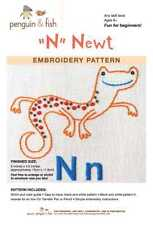 N is for Newt embroidery pattern by Penguin Fish FREE SHIPPING