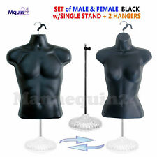 Male Female Mannequin Torso Dress Body Forms Set Black +1 Stand +2 Hangers
