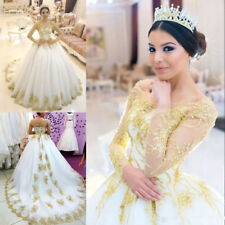 White and Gold Appliques Lace Long Sleeve Wedding Dresses Bridal Gowns Custom