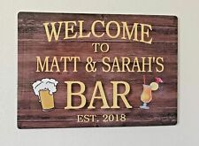 BAR SIGN LARGE PERSONALISED HOME BAR PUB SHED GARAGE METAL SIGN