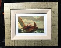 Winslow Homer Watercolor Art Print Breezing Up Sailboat Ocean Sea Framed Matted