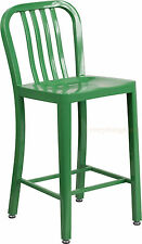Mid-Century Green 'Navy' Style Counter Stool Cafe Patio Chair Outdoor Commercial