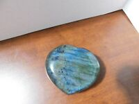BEAUTIFUL LABRADORITE  HEART PAPERWEIGHT STONE- FROM MADAGASCAR - 11 oz