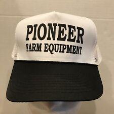 Vintage Pioneer Farm Equipment Mesh Snapback Trucker Hat Cap Black White Mohrs