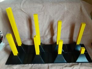 Vtg Johnny Lightning Clean Race Track Supports Base Yellow Black 16 pc Complete