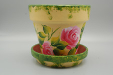 NEW Pink roses artist hand painted 4'' clay flower pot and saucer. Great gift