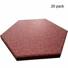 """RevTime Hexagon Rubber Pavers 10-1/2"""", 3/4"""" (Pack of 20) Red"""
