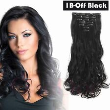 """OneDor Black 20""""Curly Thick Hair Piece Full Head Clip In Hair Extensions Wavy"""