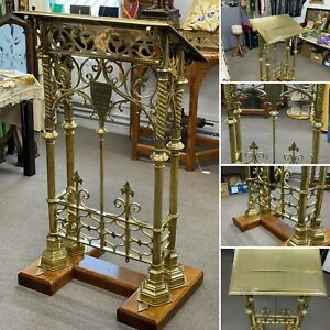 LECTERN SOLID BRASS & OAK DOUBLE BOOK – CIRA 1908 – STUNNING EXAMPLE