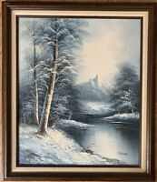 Original Landscape Oil Painting by F. Holzer painted on Canvas, Matted, VINTAGE