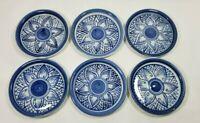 "Vintage Lot of 6 Thai Blue & White Pottery Dish Butter Pat Bon Bon 4"" Thailand"