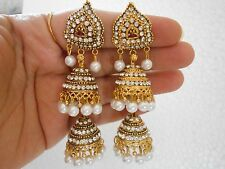 Indian Jewelry Gold Plated Pearl Pakistani Earring Wedding Jhumka Bali Jhumki 93